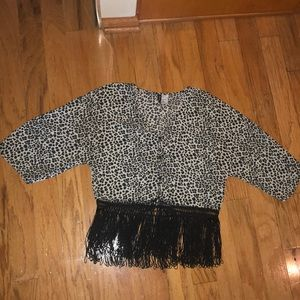 Leopard Print blouse with buttons and tassel